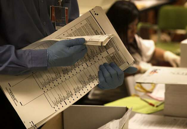 Ballots from yesterday's election, are processed at City Hall in the Department of Elections office, on Wednesday November 09, 2011, in San Francisco, Ca. Photo: Michael Macor, The Chronicle
