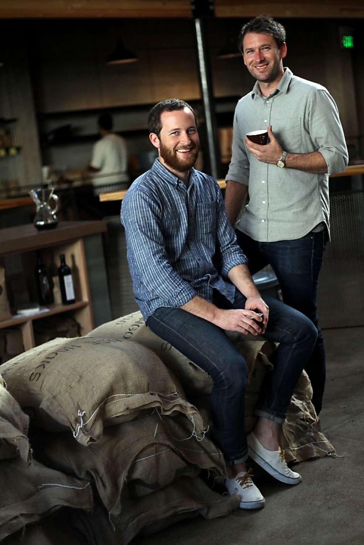 Brothers and Sightglass co-owners, Justin and Jerad Morrison, inside the Coffee Bar and Roastery on Seventh Street in San Francisco, CA on November 1, 2011.