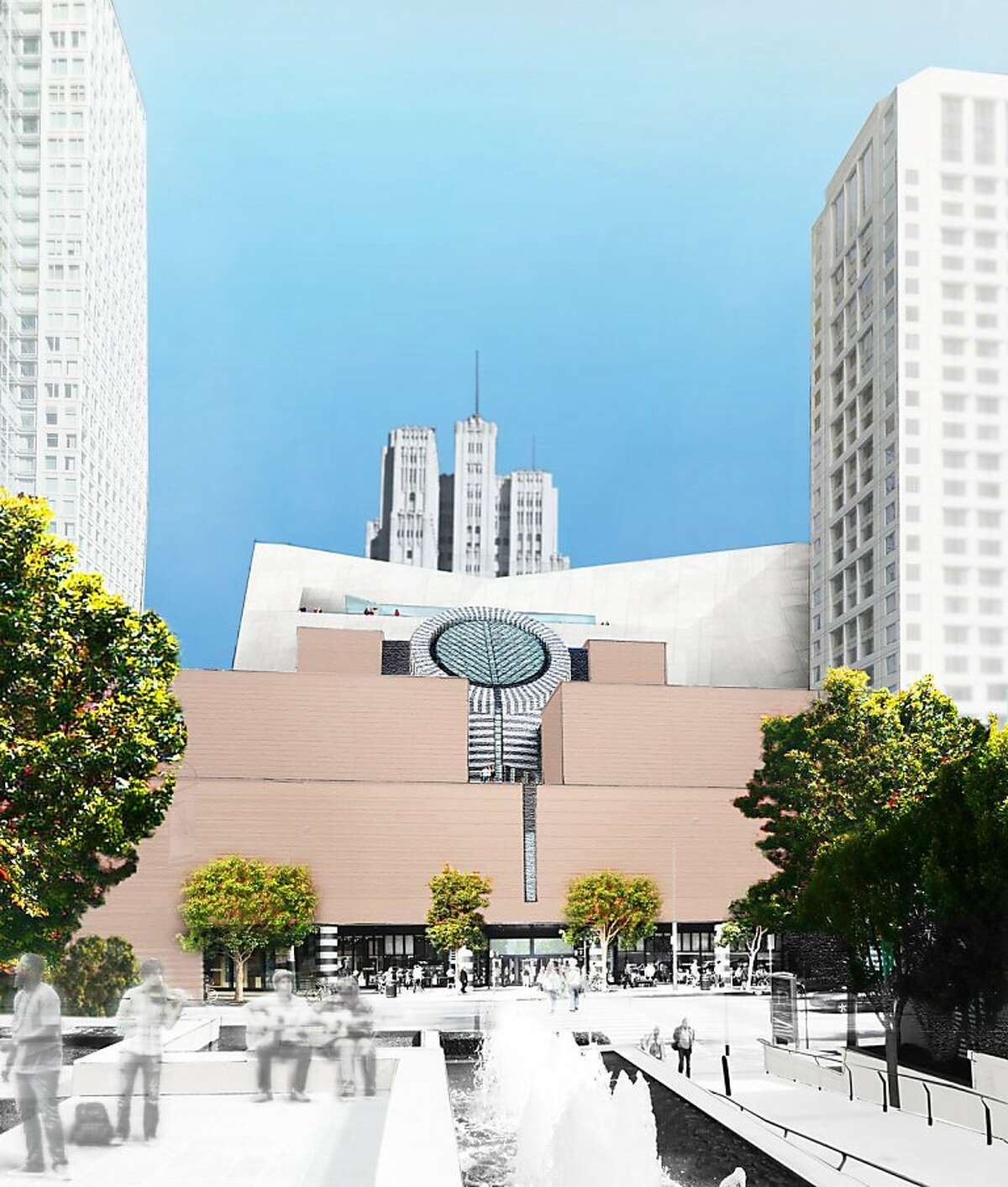 The design concept for the proposed expansion of SFMOMA features a bar of space that is 190 feet tall at Howard Street and 180 feet tall at Minna Street, but tapers down or inward at points to preserve views and sunlight as much as possible. It would also have sculpture terraces along its surface. Ran on: 05-26-2011 The concept features a bar of space that is 190 feet tall at Howard Street and 180 feet tall at Minna Street. Ran on: 05-26-2011 The concept features a bar of space that is 190 feet tall at Howard Street and 180 feet tall at Minna Street. Ran on: 05-26-2011 The architects plans take a deferential approach to the museums neighbors by lessening the impact on views.