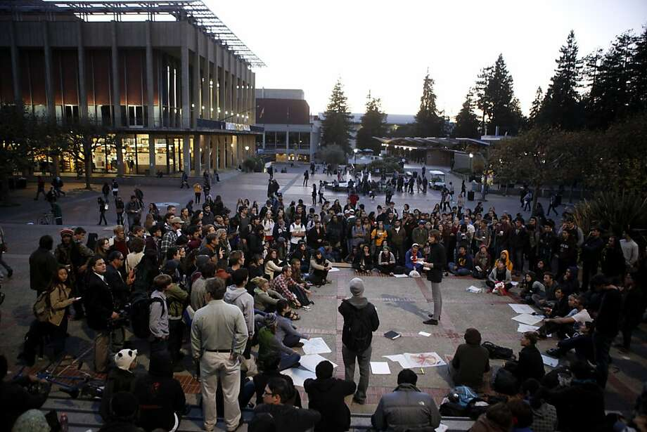 Members of Occupy Cal meet to discuss details about the agreed general strike at Sproul Plaza on the campus of the University of California on Thursday, November 10, 2011 in Berkeley, Calif. Photo: Beck Diefenbach, Special To The Chronicle