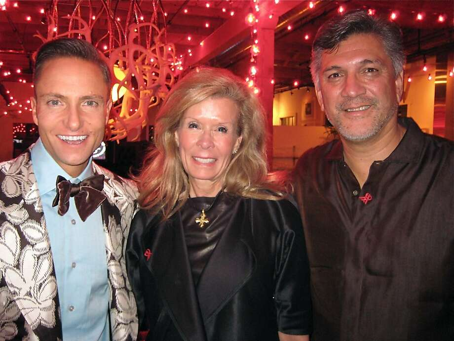 Ken Fulk (left) with co-chairs Lucinda Watson and Mario Diaz at the amfAR fundraiser. Nov. 2011. By Catherine Bigelow. Photo: Catherine Bigelow, Special To The Chronicle