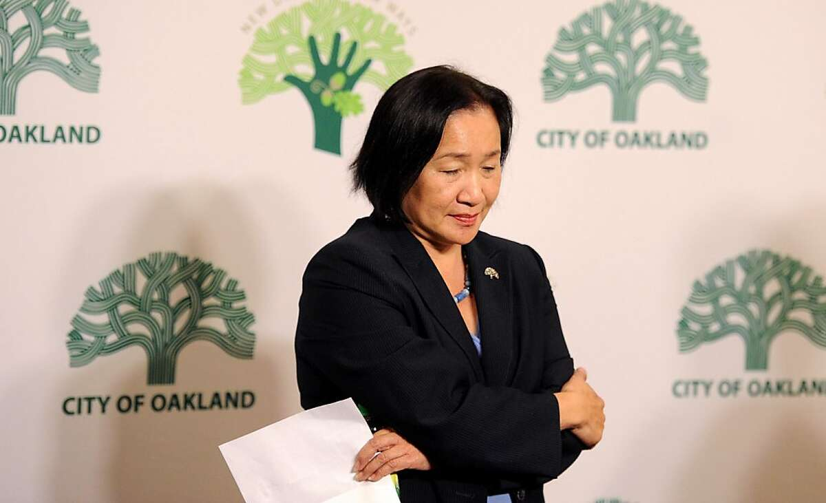 Oakland Mayor Jean Quan calls for Occupy Oakland protesters to voluntarily disperse following a murder at the camp's edge on Thursday, Nov. 10, 2011, in Oakland, Calif.