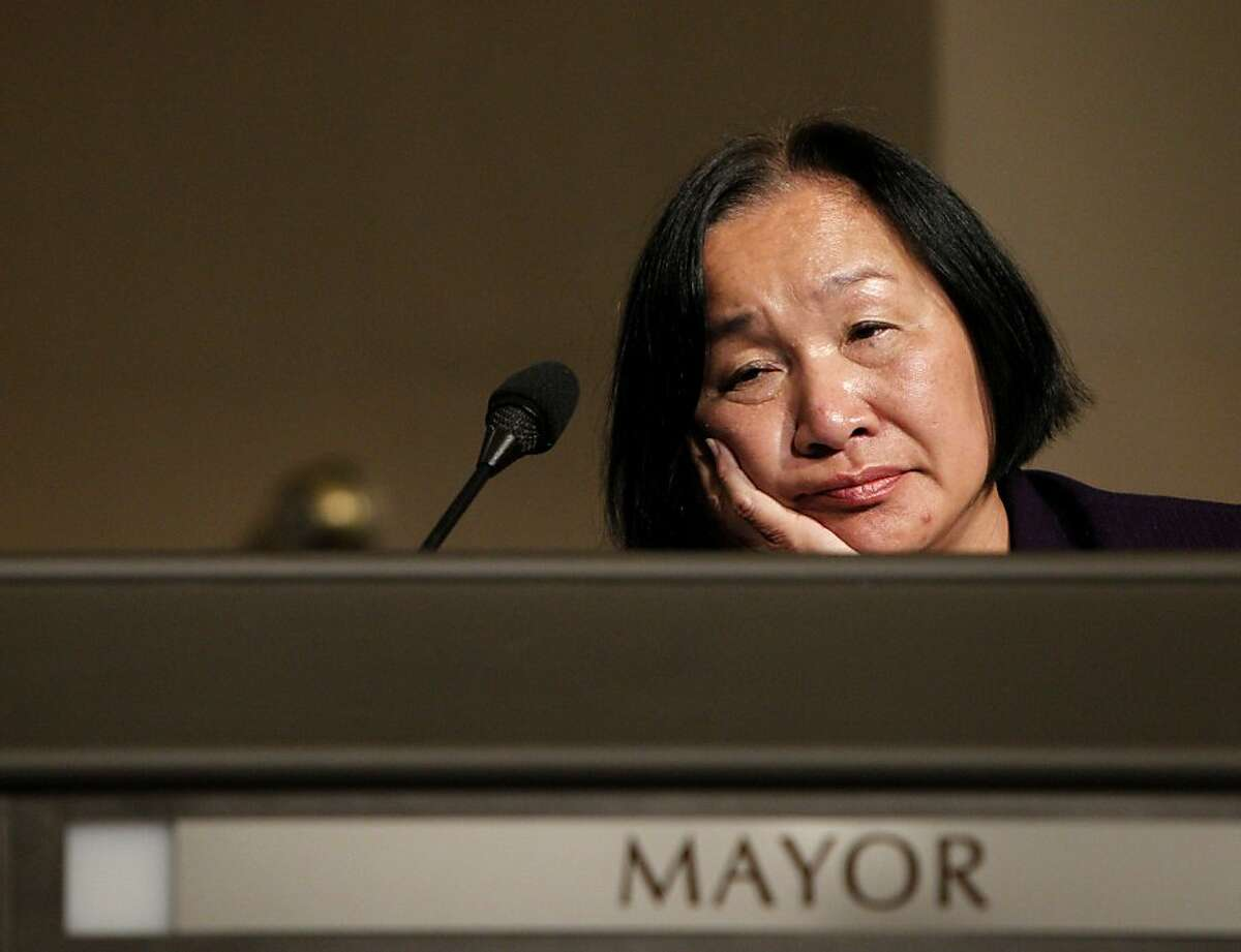 Mayor Jean Quan listen to the peoples concerns in an open forum about Occupy Oakland, Thursday Nov. 3, 2011, in Oakland, Calif.