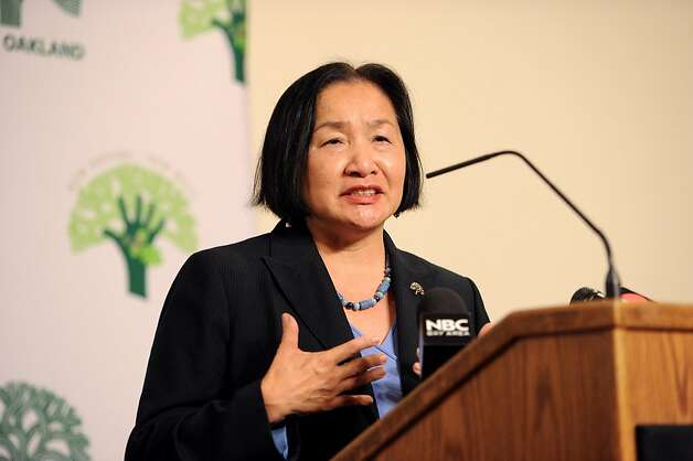 Oakland Mayor Jean Quan calls for Occupy Oakland protesters to voluntarily disperse following a murder at the camp's edge on Thursday, Nov. 10, 2011, in Oakland, Calif. Photo: Noah Berger, Special To The Chronicle