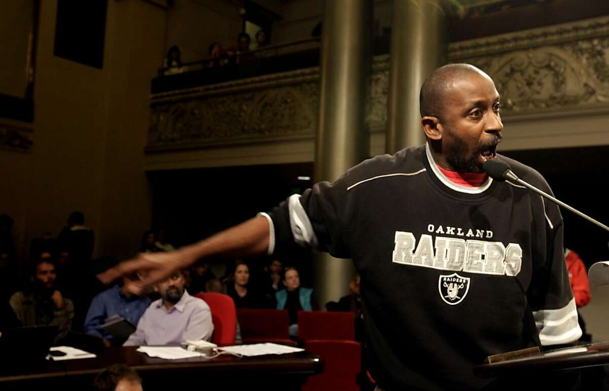 Phillip Johnson, 49 years old, of Oakland addresses the City Council and Mayor Jean Quan in an open forum about Occupy Oakland, Thursday Nov. 3, 2011, in Oakland, Calif.
