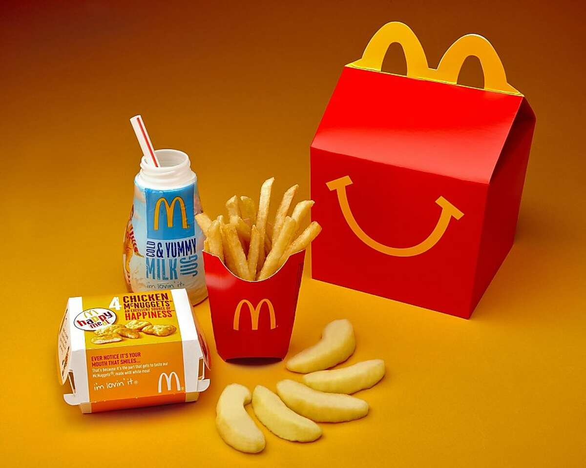 McDonald's publicity shots for the Happy Meal with the new packaging.