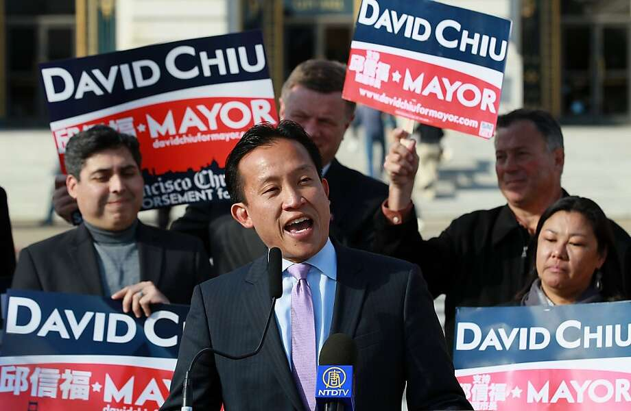 SAN FRANCISCO, CA - NOVEMBER 04:  President of the San Francisco Board of Supervisors and candidate for Mayor David Chiu (C) speaks to supporters in front of San Francisco City Hall on November 4, 2011 in San Francisco, California. With less than a week to go before San Francisco's mayoral election, candidates are stumping throughout the city.  (Photo by Justin Sullivan/Getty Images) Photo: Justin Sullivan, Getty Images