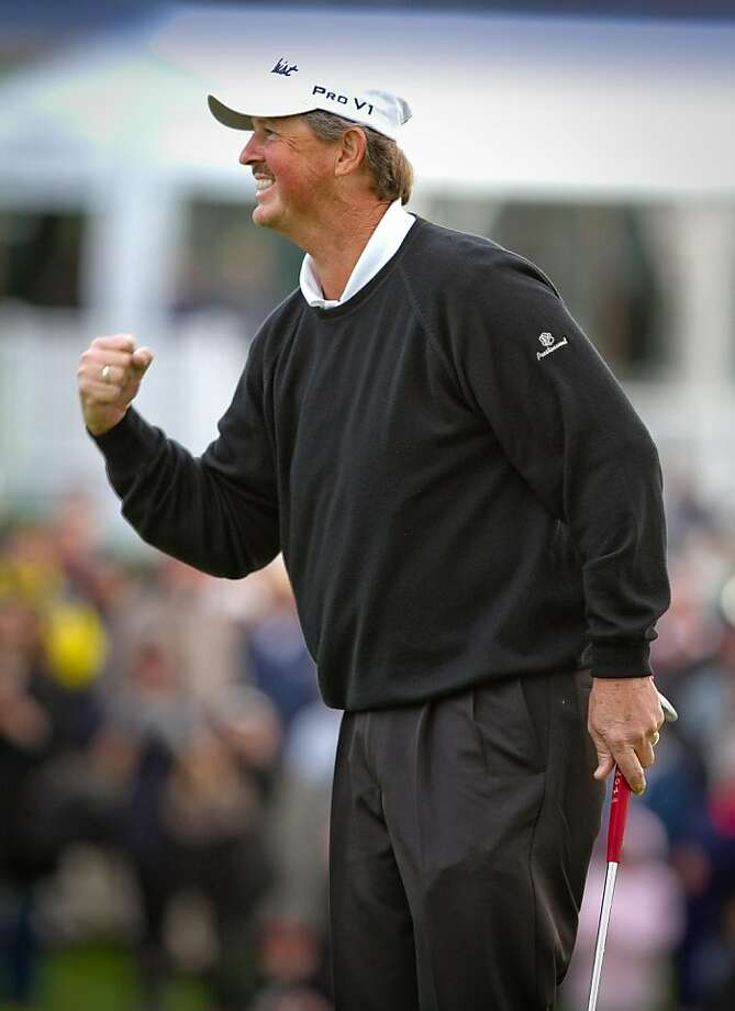 Jay Don Blake reacts to winning the Schwab Cup Championship on the 18th green at Harding Park Golf Course in San Francisco, Calif., on Sunday, November 6, 2011. Photo: John Storey, Special To The Chronicle