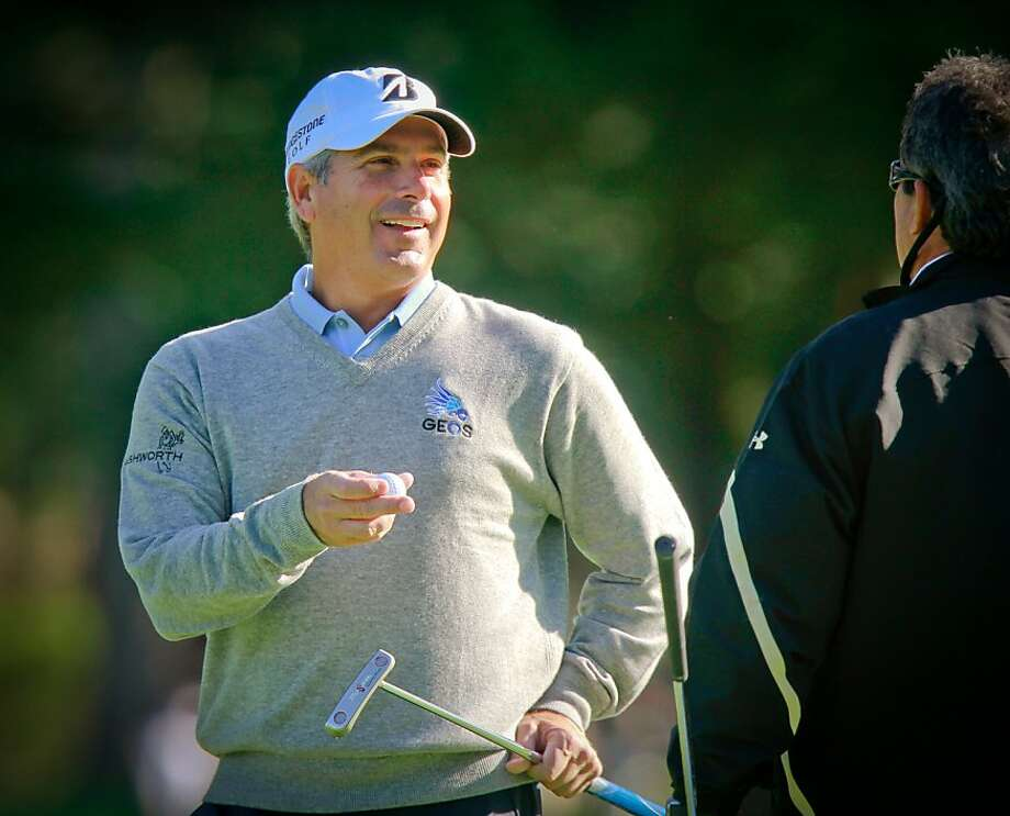 Fred Couples has a laugh with his caddy at the 3rd hole during the Schwab Cup Championship Pro-Am at Harding Park Golf Course in San Francisco, Calif., on Wednesday, November 2, 2011. Photo: John Storey, Special To The Chronicle