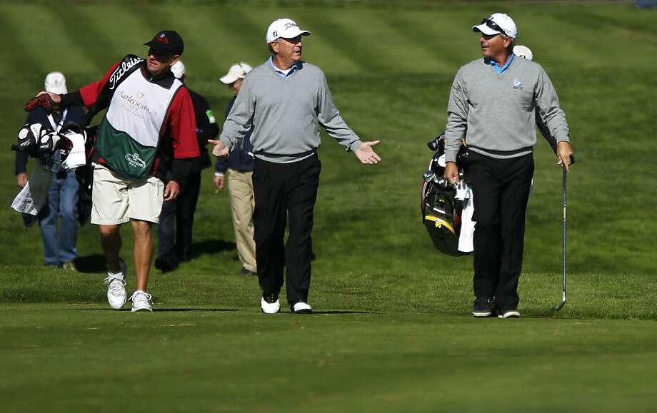 Grouped together, Jay Haas, (left) and Fred Couples wear almost the same attire during round two of the Charles Schwab Cup Championship at TPC Harding Park in San Francisco, Ca. on Friday November 04, 2011. Photo: Michael Macor, The Chronicle