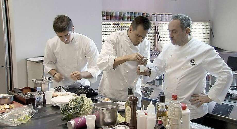 "Eduard Xatruch, Oriol Castro and Ferran Adriˆ appear in a scene from, ""El Bulli: Cooking in Progress."" Photo: Alive Mind Cinema"