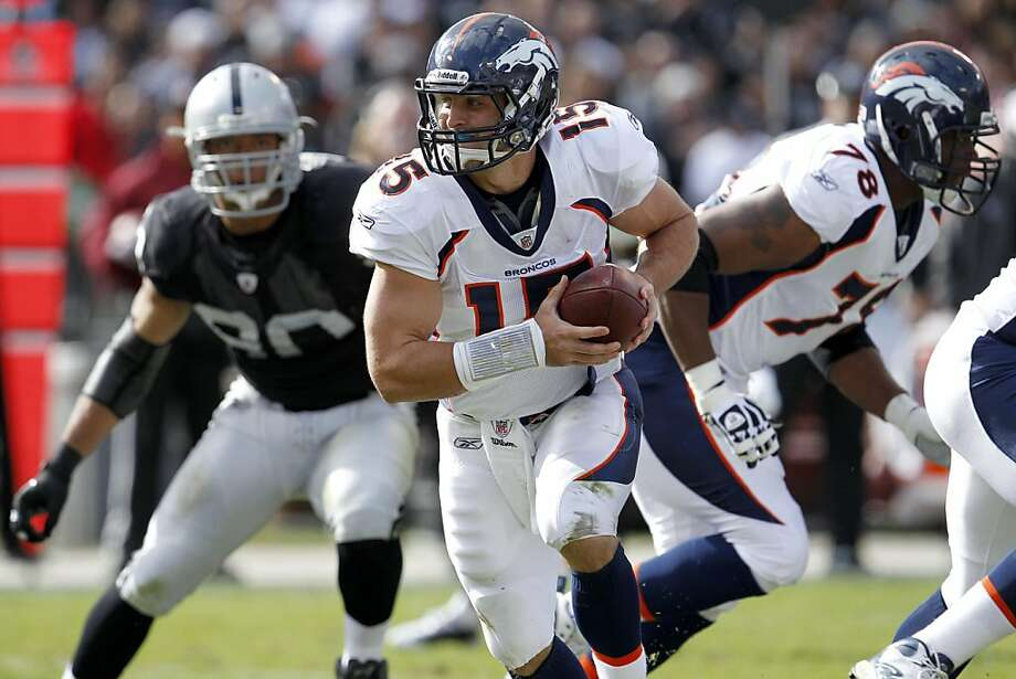 Denver Broncos quarterback Tim Tebow in the first half against the Oakland Raiders, Sunday November 6, 2011, at O.co Coliseum in Oakland, Calif. Photo: Lacy Atkins, The Chronicle