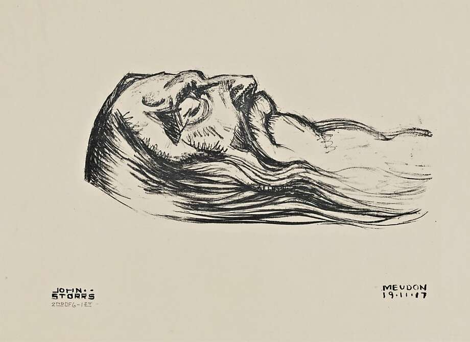 """Deathbed Portrait of Rodin"" (1917) lithograph by John Bradley Storrs   8.5"" x 11"" John Bradley Storrs, Deathbed Portrait of Rodin, 1917.Ê Lithograph, 8 x 11 in.Ê Cantor Arts Center, Stanford, Robert E. and Mary B. P. Gross Fund, 2008.10. Photo: Unknown, Cantor Arts Center, Stanford"