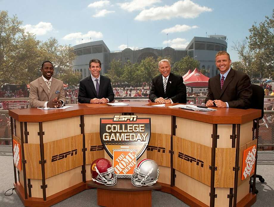 The College GameDay set, with Desmond Howard, Chris Fowler, Lee Corso and Kirk Herbstreit, will be at Stanford this week for the big game against Oregon. Photo: Scott Clark, ESPN