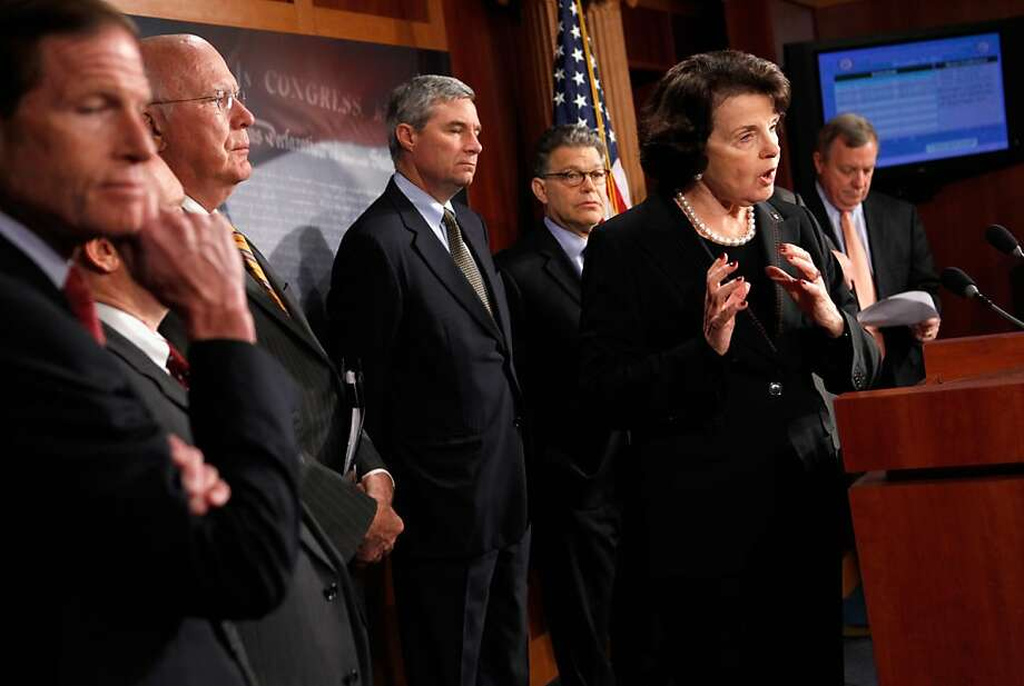 WASHINGTON, DC - NOVEMBER 10:  Sen. Dianne Feinstein (D-CA) (2nd R) speaks during a news conference with (L-R) Sen. Richard Blumenthal (D-CT), Senate Judiciary Committee Chairman Patrick Leahy (D-VT), Sen. Sheldon Whitehouse (D-RI), Sen. Al Franken (D-MN) and Senate Majority Whip Richard Durbin (D-IL) at the U.S. Captiol November 10, 2011 in Washington, DC. The Senate Judiciary Committee voted along party lines Thursday to repeal the Defense of Marriage Act, which was signed by President Bill Clinton in 1996.  (Photo by Chip Somodevilla/Getty Images) Photo: Chip Somodevilla, Getty Images