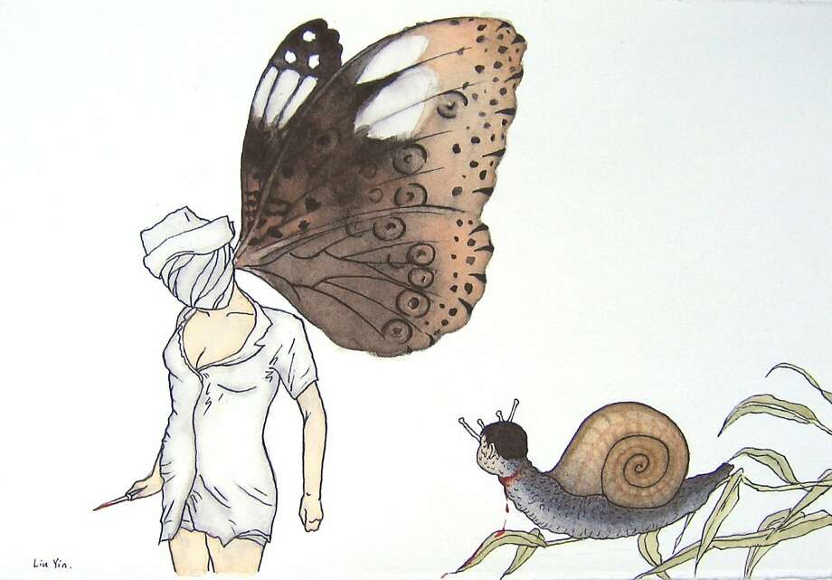 """""""He doesn't want to give up the illusion which brings him grief ,"""" 2008; pen, watercolor, paper; 21 x 28 cm. Photo: Liu Yin"""