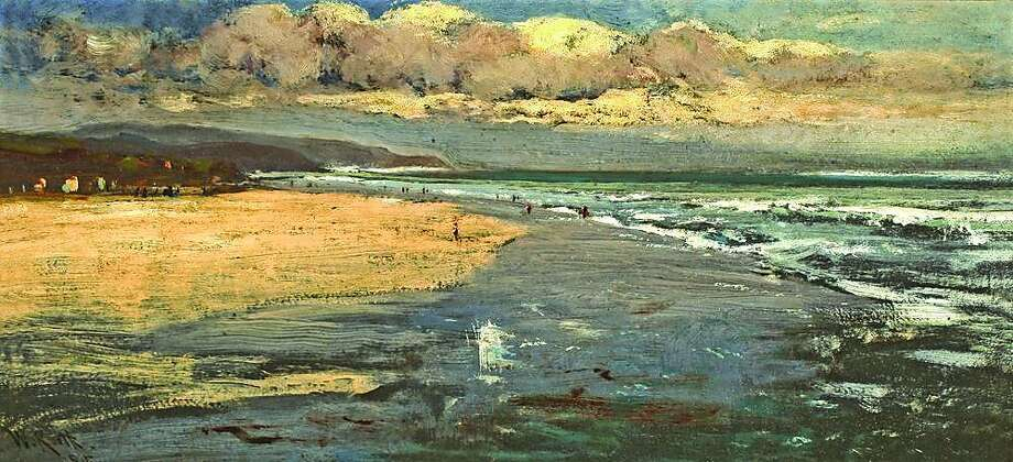 "Stinson Beach, late 1870s or early 1880s oil on board, 9 x 19 "" Gift of Cochrane Brown, Jr. Photo: William Keith"