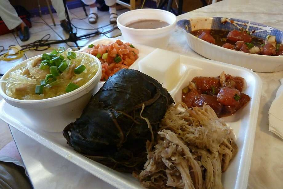 A serving of traditional Hawaiian dishes, including kalua pig and lau lau, at Haili's Hawaiian Foods on Kapahulu Street. Haili's is one of the few Hawaiian-owned restaurants left serving authentic local plates. Photo: Spud Hilton, The Chronicle