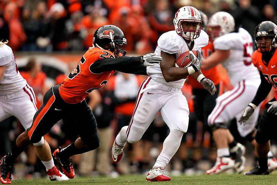 CORVALLIS, OR - NOVEMBER 5: Running back Stepfan Taylor #33 of the Stanford Cardinal rushes past safety Ryan Murphy #25 of the Oregon State Beavers on November 5, 2011 at Reser Stadium in Corvallis, Oregon.  (Photo by Craig Mitchelldyer/Getty Images) Photo: Craig Mitchelldyer, Getty Images