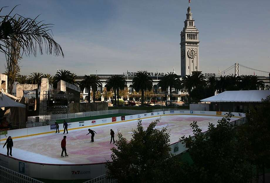 The Holiday Ice Rink at Embarcadero Center presented by Hawaiian Airlines opened today, November 9, 2011, and will be open for the next nine weeks in San Francisco, Calif. Photo: Liz Hafalia, The Chronicle