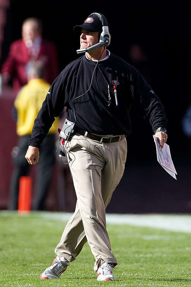 San Francisco 49ers Head Coach Jim Harbaugh reacts on the sideline  during their game against the Washington Redskins during the first half at FedEx Field in Landover, MD, Sunday, November 6, 2011. (Harry E. Walker/MCT) Photo: Harry E. Walker, MCT