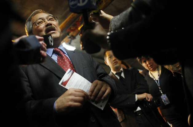 Mayor Ed Lee answers questions for the media during a visit to Vet Connect which was held at the San Francisco Veterans Affairs Downtown Clinic/Comprehensive Homeless Center on Wednesday, November 11, 2011 in San Francisco, Calif. Photo: Lea Suzuki, The Chronicle