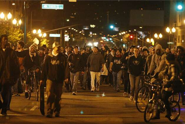 Occupy Oakland protestors march down Telegraph Avenue in Oakland after a rally at Frank Ogawa Plaza in front of City Hall in Oakland, Calif., on Wednesday, Oct. 27, 2011. Photo: Dylan Entelis, The Chronicle