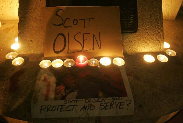 An homage to Scott Olsen, who was wounded during Occupy Oakland protests on Tuesday is on display at Frank Ogawa Plaza on Wednesday, Oct. 26, 2011, in Oakland, Calif. Photo: Mathew Sumner, Special To The Chronicle