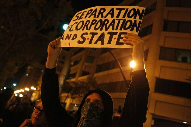 Occupy Oakland protestors march late into the night in Oakland, Calif., on Wednesday, Oct. 27, 2011. Photo: Dylan Entelis, The Chronicle