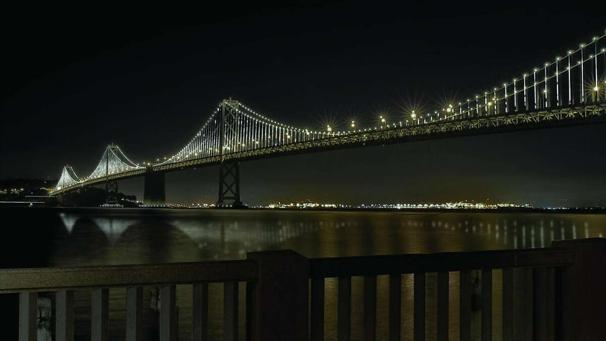 This is an installation of a light sculpture possibly destined for the Bay Bridge's 75th anniversary by artist Leo Villareal.