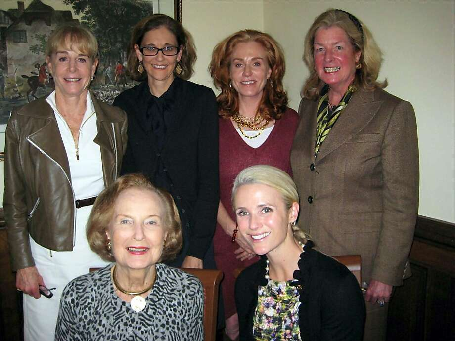 The Monday Group (standing, from left) Chris Boskin, Jennifer Biederbeck, Brenda Jewett and Laura King Pfaff with (seated, from left) Grace Prien and filmmaker Jennifer Siebel Newsom. Oct. 2011. By Catherine Bigelow. Photo: Catherine Bigelow, Special To The Chronicle