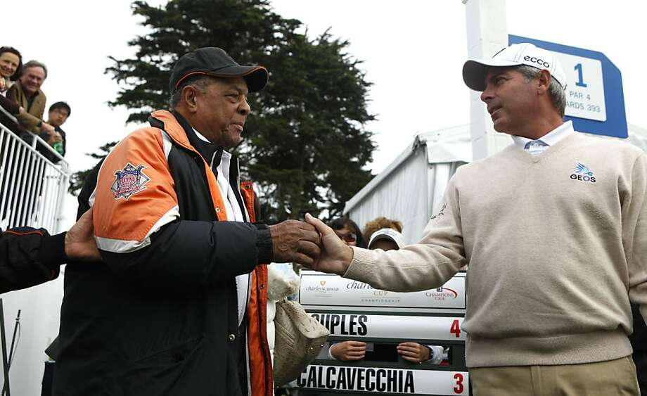 San Francisco Giants baseball celebrity Willie Mays meets Fred Couples on the first tee of the third round of the Charles Schwab Cup was played at San Francisco's Harding Park Saturday, November 5, 2011 Photo: Lance Iversen, The Chronicle