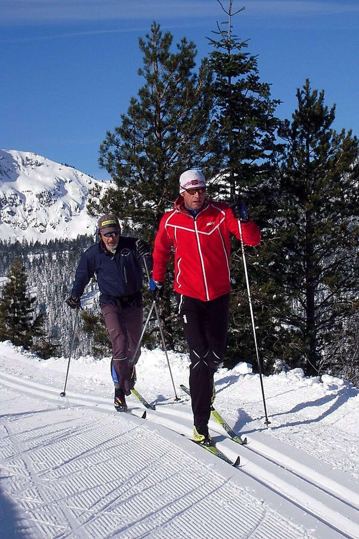 Cross-country skiers in Tahoe Donner.