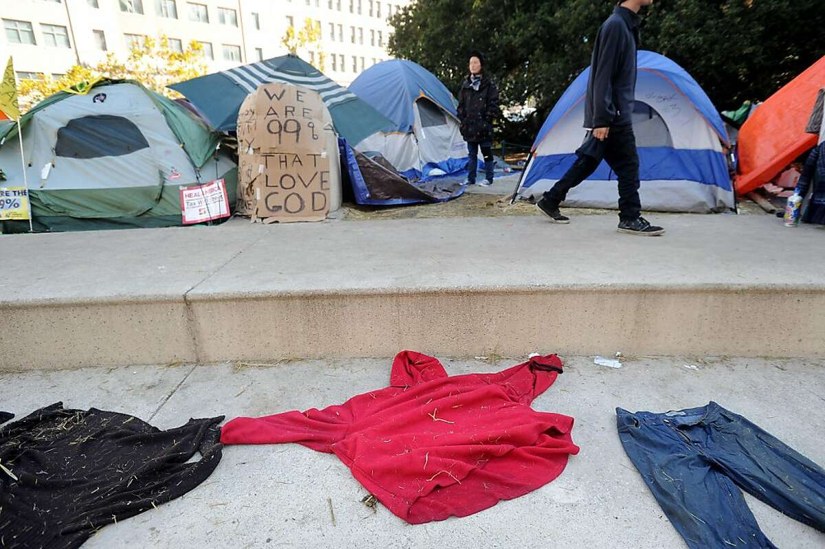 Clothes dry at the Occupy Oakland camp on Monday, Nov. 7, 2011, in Oakland, Calif.