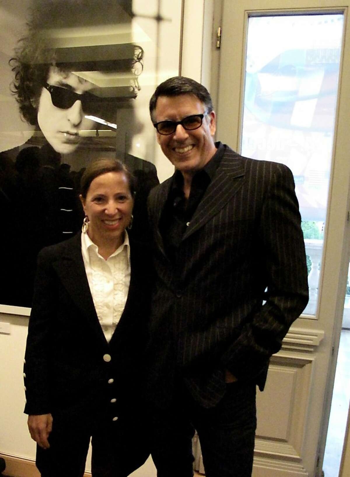 Ambassador Eleni Tsakapoulos Kounalakis and her husband, Markos Tsakopoulos Kounalakis, decked out in rocker clothes, attend the opening of Kogart House exhibition,