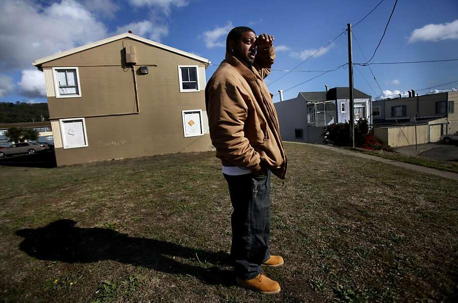 "Drew Jenkins walks around his Sunnydale neighborhood in San Francisco, Calif., Friday, November 4, 2011.  Jenkins, a community leader and mentor, was shot there in 2004 after dropping his son off at a slumber party.  He says the rivalry between his neighborhood and the one two blocks down the hill is at an all time high.  ""This is a state of emergency,"" he said of the recent shootings, ""It's like the land of the lost.""  He wishes there were more funding for buildings and programs to give the community a safe place to go.  ""If we had more we could do more."" Photo: Sarah Rice, Special To The Chronicle"