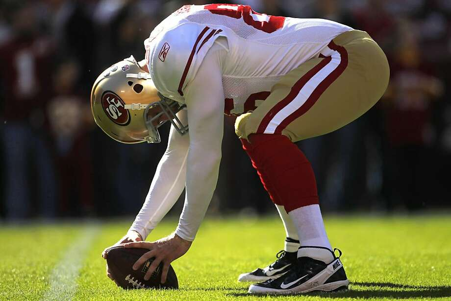 San Francisco 49ers long snapper Brian Jennings warms up before an NFL football game against the Washington Redskins in Landover, Md., Sunday, Nov. 6, 2011. (AP Photo/Pablo Martinez Monsivais)  Ran on: 11-30-2011 49ers long snapper Brian Jennings is the only player left from the 2002 NFC West champions. Photo: Pablo Martinez Monsivais, AP