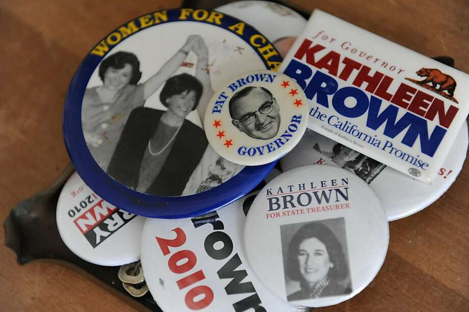 Buttons are seen on the desk in Hilary Armstrong's office in her home on Friday, November 4, 2011. Armstrong is the executive producer of California State of Mind, a film about her grandfather Pat Brown that will be premiering in San Francisco on November 17, 2011. Photo: Susana Bates, Special To The Chronicle