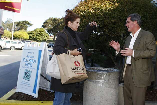 San Francisco Mayoral Candidate Dennis Herrera greets constituents outside of the Safeway in the Marina District of San Francisco, Calif., on Monday Nov. 7, 2011.    Ran on: 11-08-2011 Dennis Herrera stumps outside the Marina district Safeway. Photo: Dylan Entelis, The Chronicle