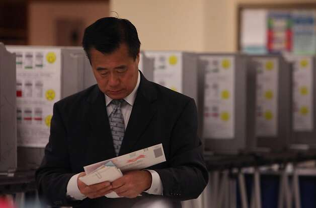 Mayoral candidate Leland Yee  at city hall department of elections in San Francisco, Calif., to cast his vote on Monday, November 7, 2011. Ran on: 11-08-2011 Leland Yee visits City Hall to cast his ballot. Photo: Liz Hafalia, The Chronicle