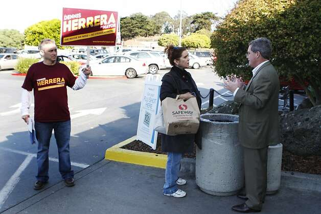 San Francisco Mayoral Candidate Dennis Herrera greets constituents outside of the Safeway in the Marina District of San Francisco, Calif., on Monday Nov. 7, 2011. Photo: Dylan Entelis, The Chronicle