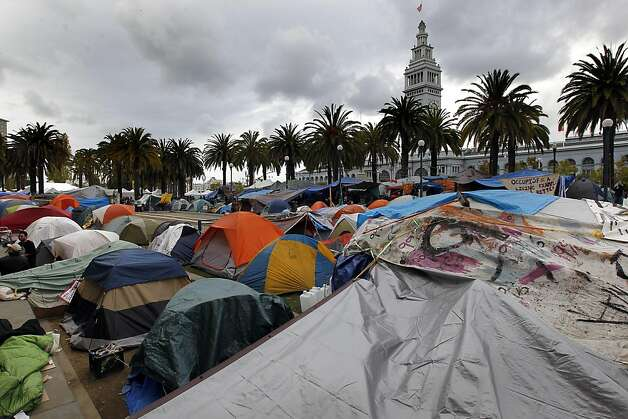 The Occupy SF encampment at Harry Bridges PLaza at the foot of Market street, in San Francisco, Ca. on Saturday November 05, 2011. Photo: Michael Macor, The Chronicle