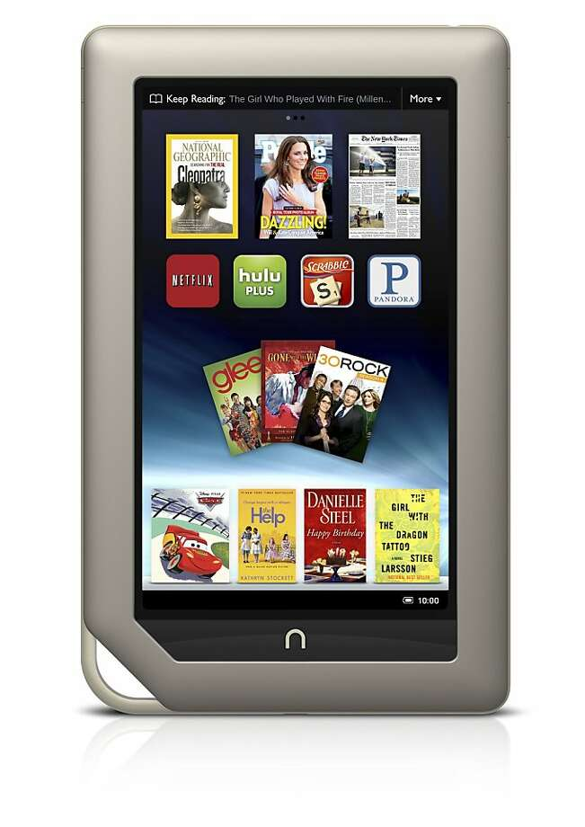 This product image provided by Barnes & Noble Inc., shows the new $249 Nook Tablet, which was unveiled Monday, Nov. 7, 2011, in New York. The e-book reader includes more features of a full-blown tablet than its prior offerings as the tablet wars heat up ahead of the all-important holiday season. (AP Photo/Barnes & Noble Inc.) Photo: AP
