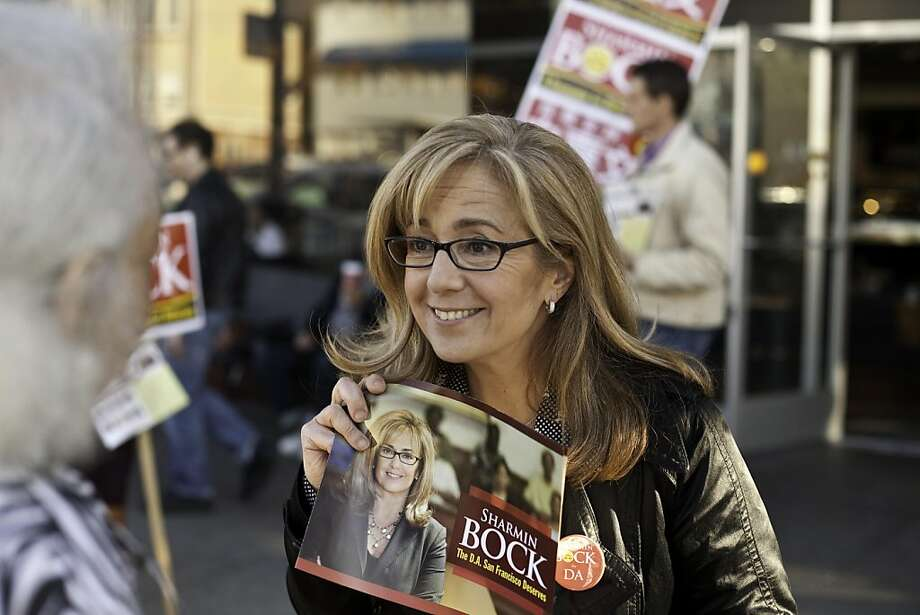 Sharmin Bock, candidate for DA, campaigning in front of a Starbucks on California and Spruce streets in San Francisco, California, on November 2, 2011. Photo: Craig Lee, Special To The Chronicle