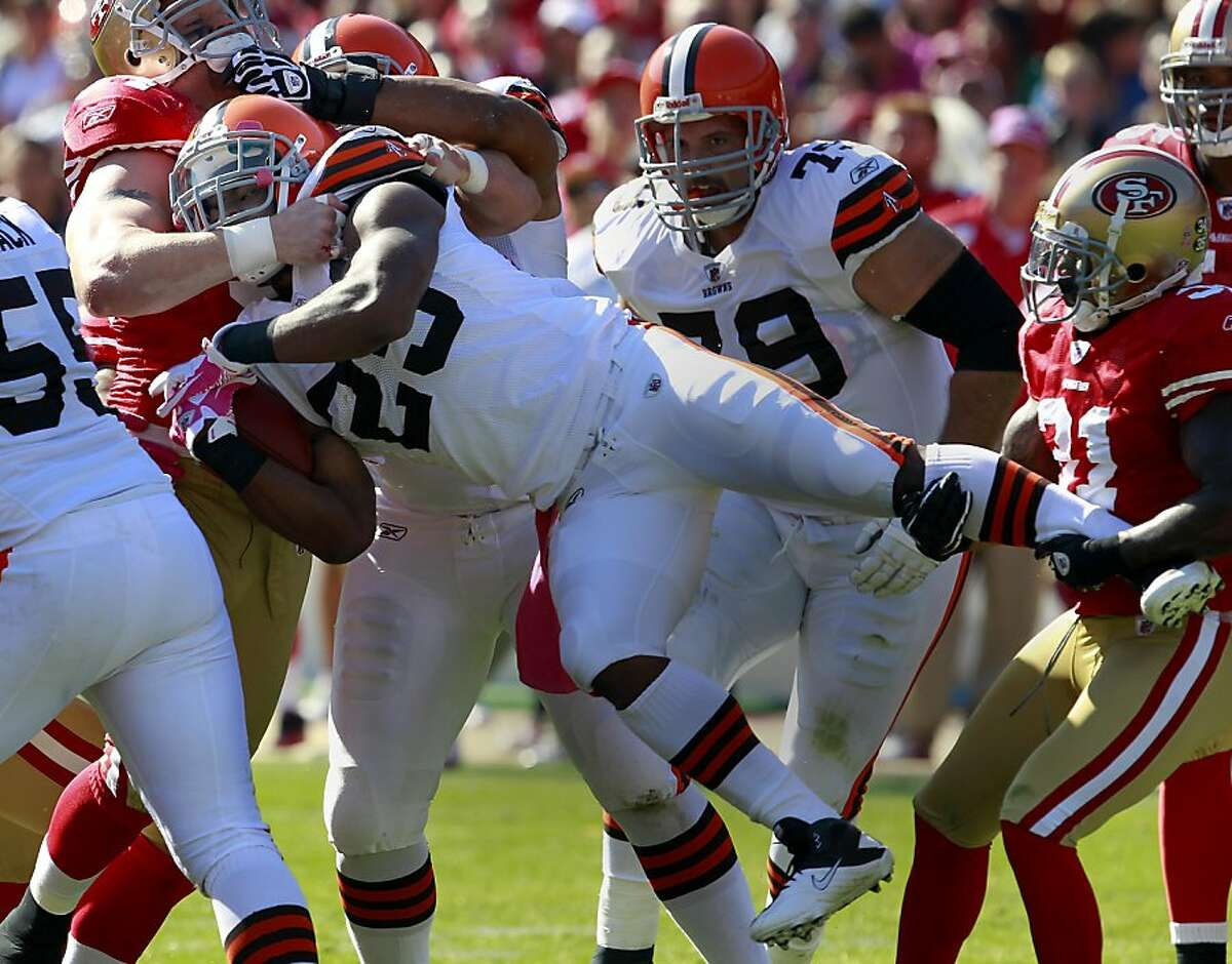 The 49ers defense throttled this Browns runner. The San Francisco 49ers defeated the Cleveland Browns 20-10 at Candlestick Park Sunday October 30, 2011.