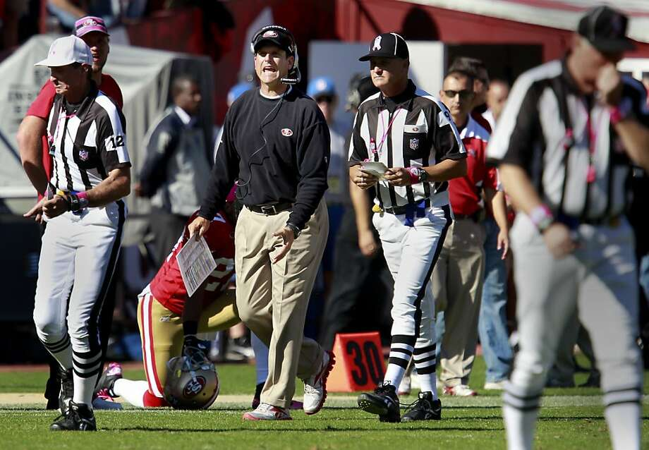 49er head coach Jim Harbaugh tried to convince officials that Frank Gore scored in the first half. The San Francisco 49ers defeated the Cleveland Browns 20-10 at Candlestick Park Sunday October 30, 2011. Photo: Brant Ward, The Chronicle