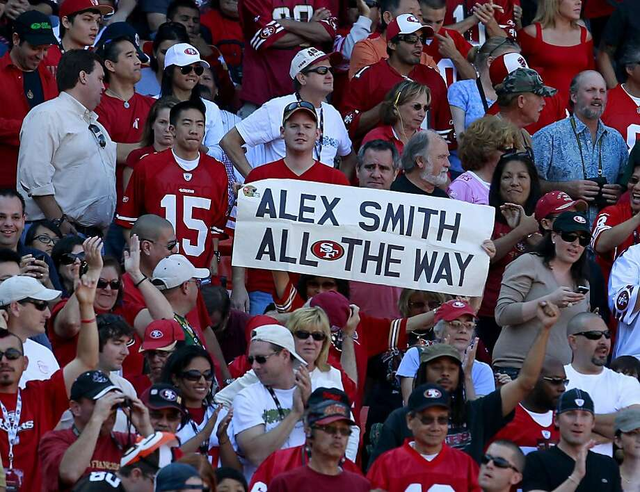 Alex Smith is winning over the 49er fans. The San Francisco 49ers defeated the Cleveland Browns 20-10 at Candlestick Park Sunday October 30, 2011. Photo: Brant Ward, The Chronicle