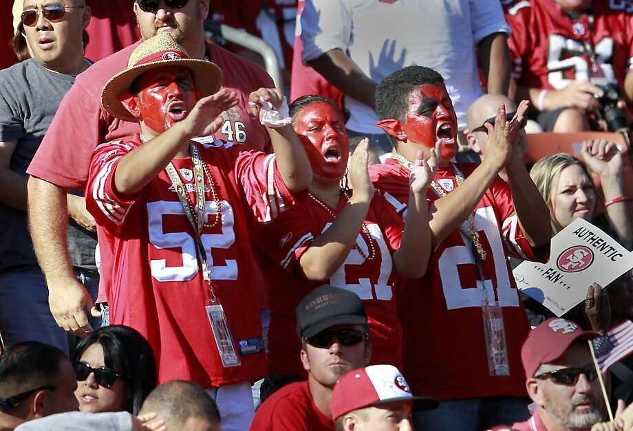 49er fans in face paint urged the team on in the 3rd quarter. The San Francisco 49ers defeated the Cleveland Browns 20-10 at Candlestick Park Sunday October 30, 2011. Photo: Brant Ward, The Chronicle