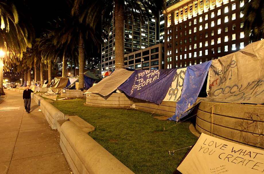 Residents at Occupy San Francisco have built make shift shelters in Justin Herman Park that boarders the Embarcadero Thursday night Oct 27, 2011. Photo: Lance Iversen, The Chronicle