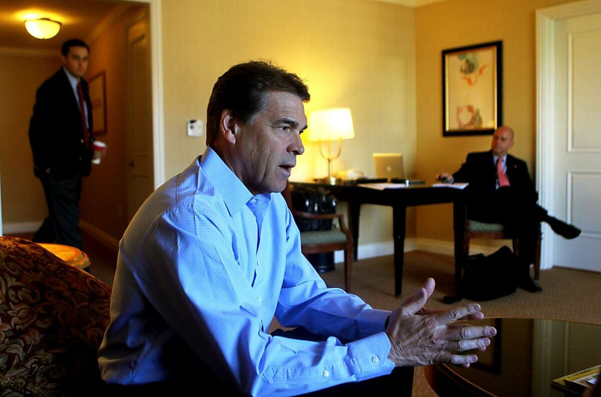 Rick Perry, Texas Gov and presidential hopeful talks about his campaign during a fundraising trip to San Jose California Wednesday, November 1, 2011 2, 2011.